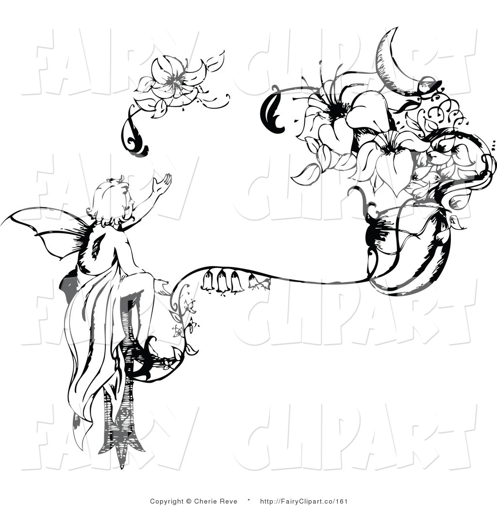Clip Art Of A Black And White Injured Fairy Reaching For Its Wing