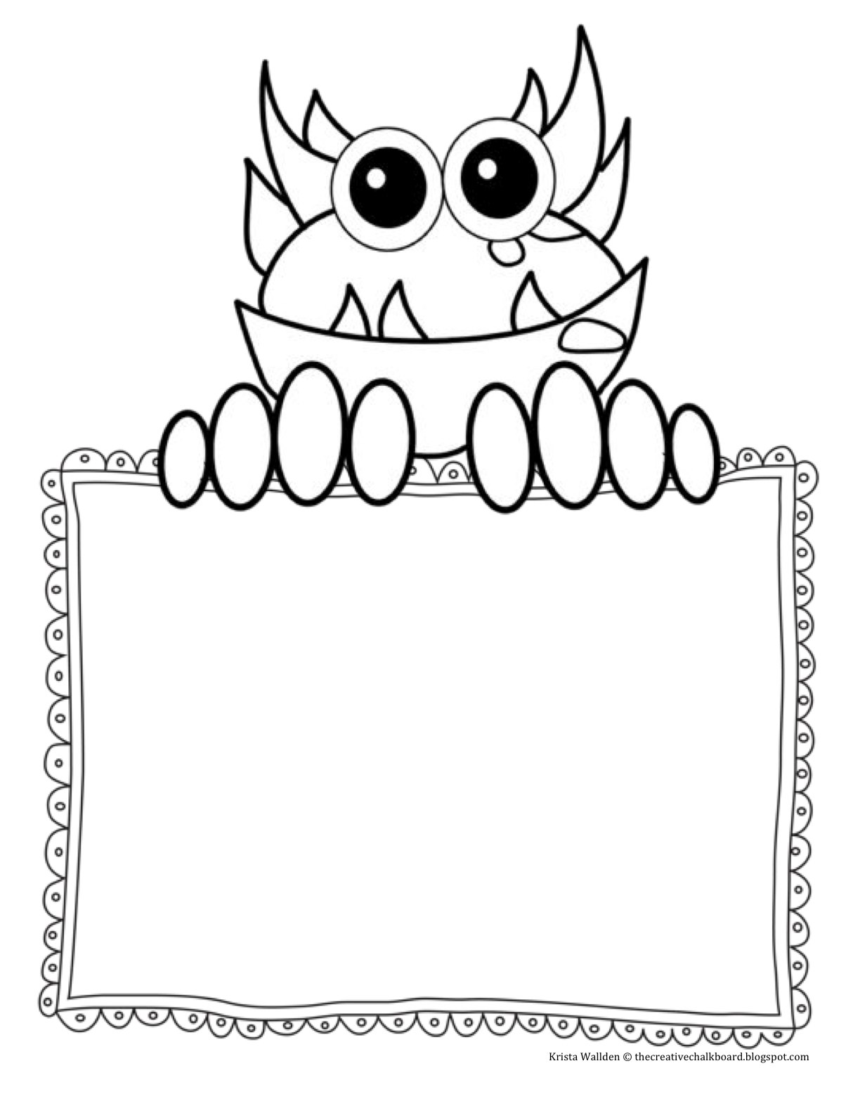 Day 2  Freebie  Monster Writing Pages And New Monster Clipart