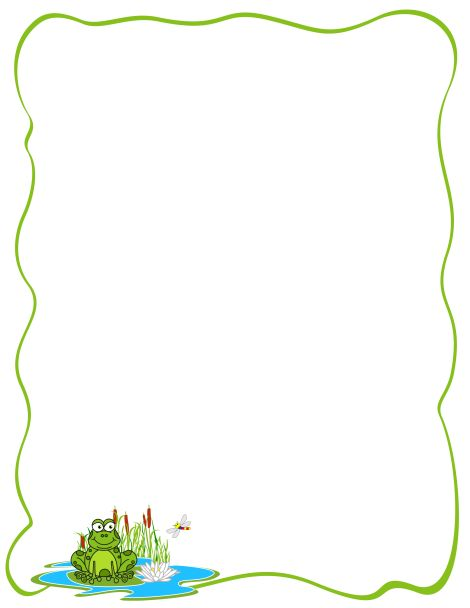 Org Download Frog Border   Frog Lilies Quote Page Border Frogs