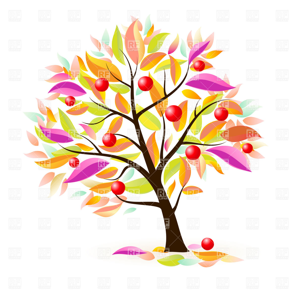 Apple Tree With Autumn Leaves Download Royalty Free Vector Clipart