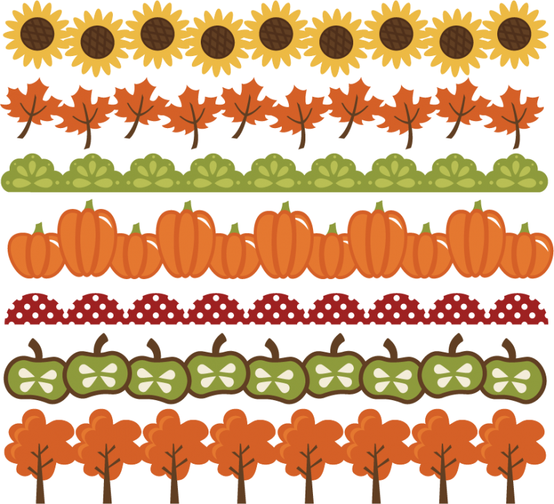 Autumn Svg Files Pumpkin Border Leaf Border Apple Border Free Svgs
