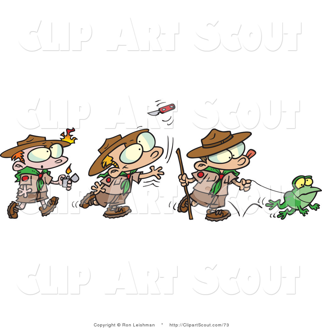 Cartoon Group Of Boy Scouts Playing Outdoors Cartoon Boy Scout Taking