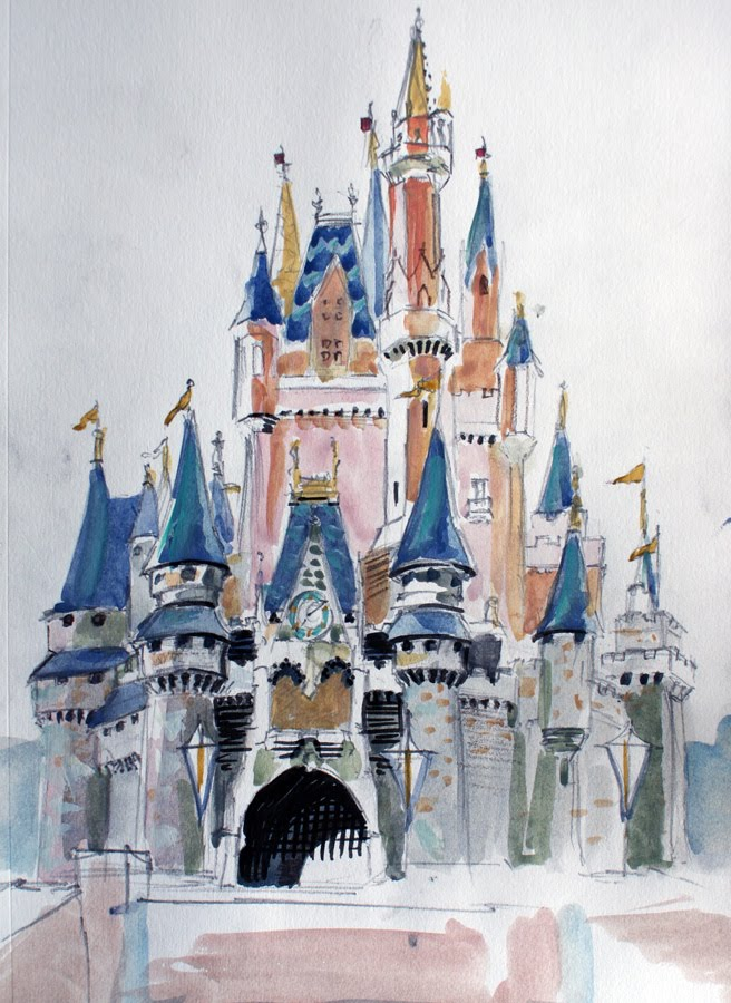Disney castle clip art black and white