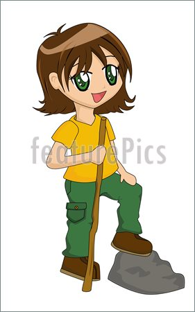 Girls Hiking Clipart Cute Cartoon Girl Hiking