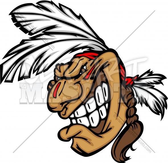 Grinning Indian Brave Mascot Head Vector Cartoon   Clipart 4 Mascots