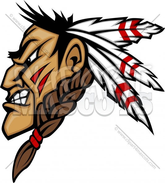 Indian Brave Mascot Head Vector Cartoon   Clipart 4 Mascots   Quality