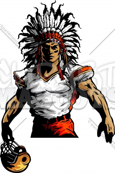 Indian Chief Football Mascot Vector Clipart Image