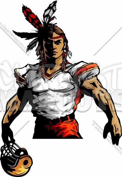 Indian Warrior Football Mascot Vector Clipart Image