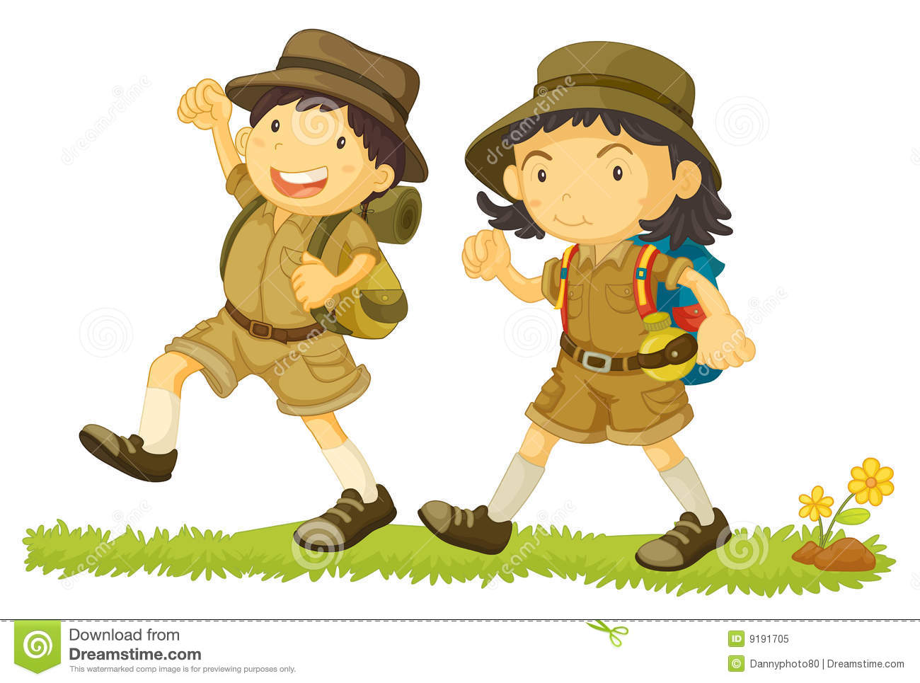 Kid Hiker Clipart Of 2 Young Kids Hiking