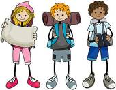 Stock Illustration Of Hiking Kids K2108385   Search Clipart Drawings