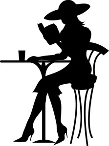 Woman Clipart Image   Silhouette Of Beautiful Woman Reading Book At A
