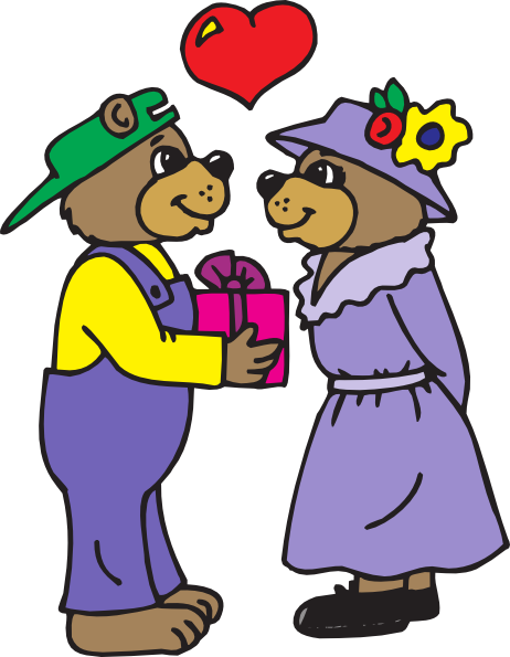 Bear Giving A Gift Clip Art