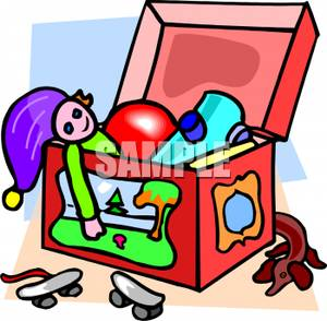 Cartoon Of A Kids Toy Box Full Of Toys   Royalty Free Clipart Picture
