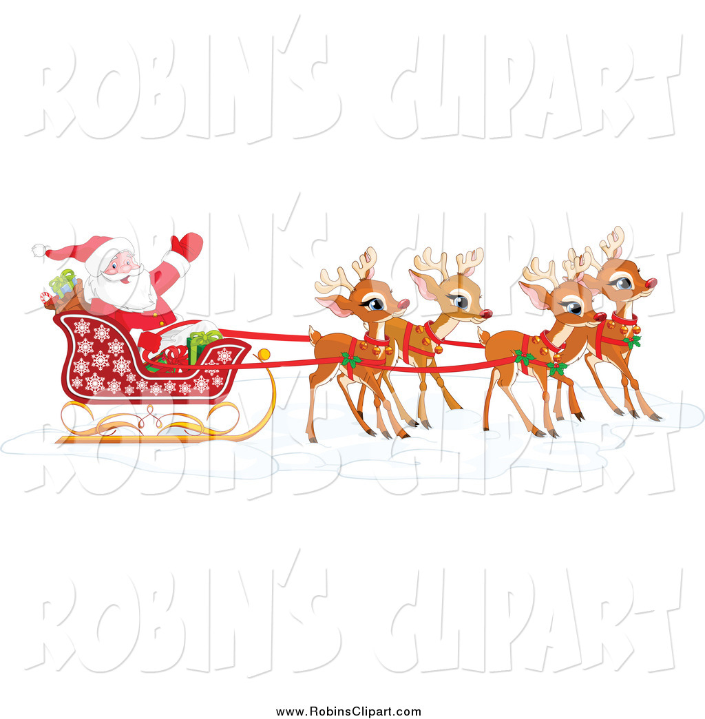 Santa And Reindeer Clipart - Clipart Kid