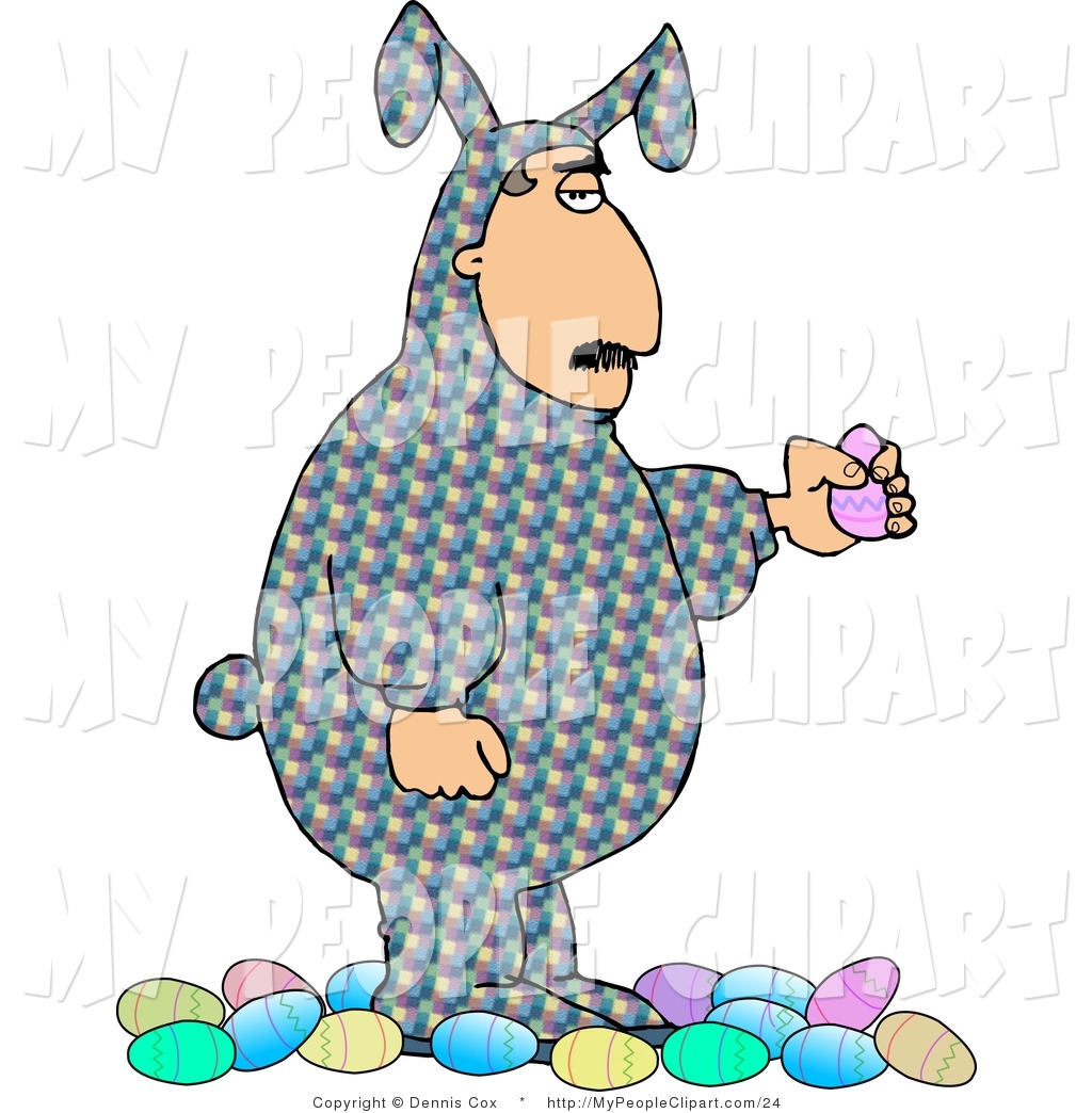 Clip Art Of A Unamused Man Wearing An Easter Costume And Holding A