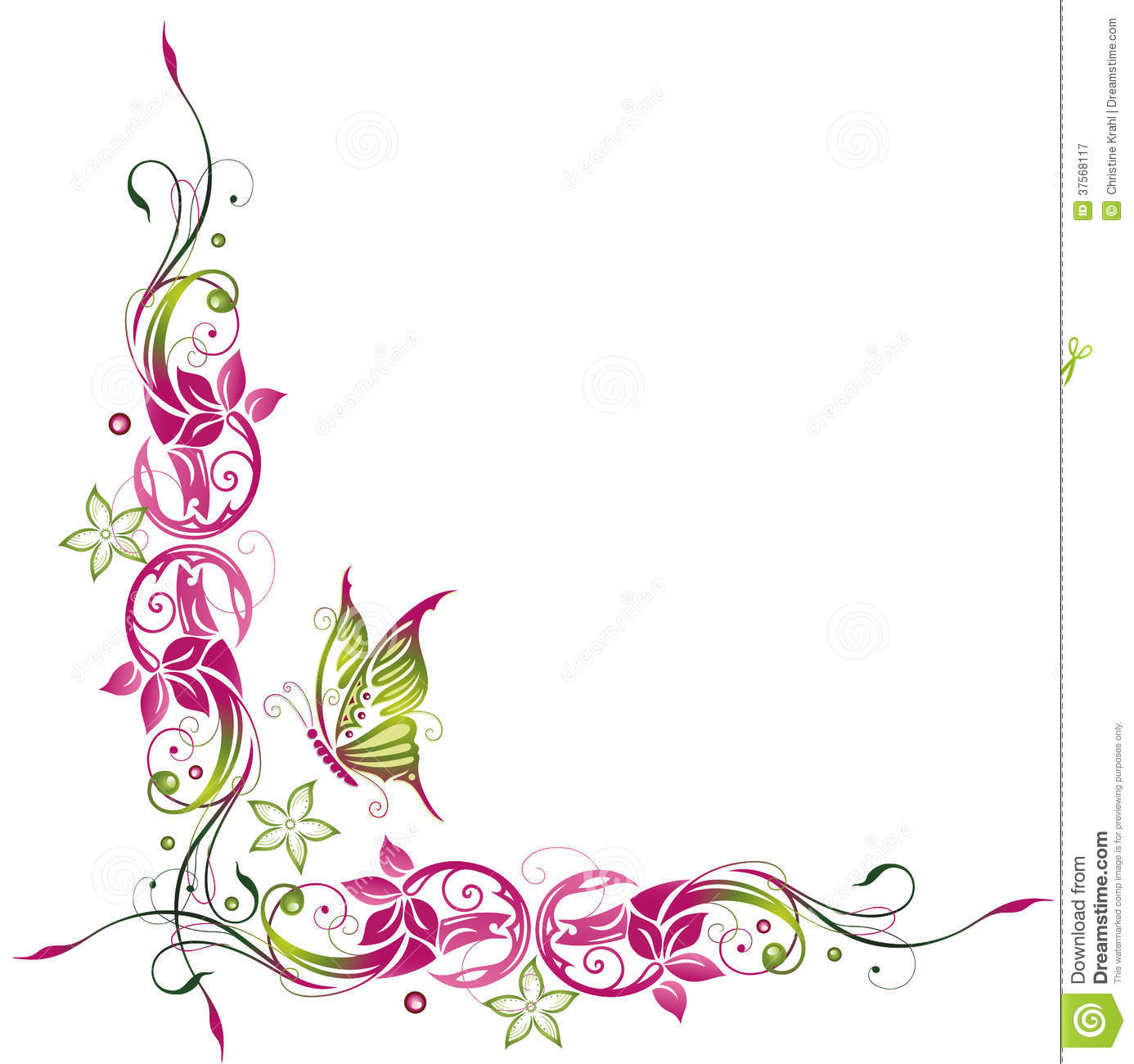 Flower and butterfly border clip art - photo#2