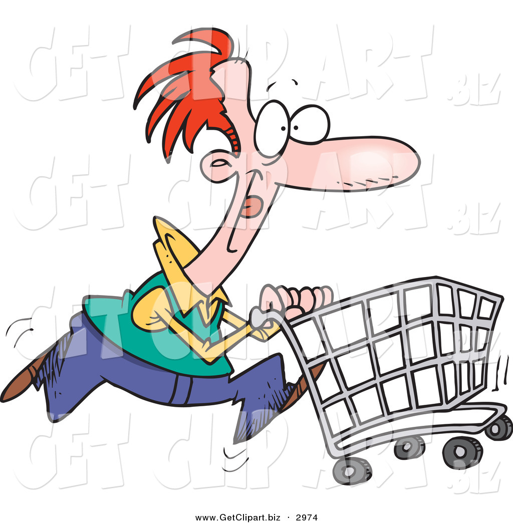 Consumer Clipart Clip Art Of A Red Haired Caucasian Man Pushing A