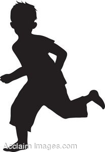 Description  Clip Art Of The Silhouette Of A Boy Running  Clipart