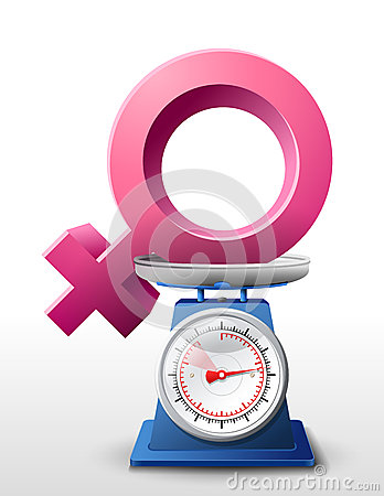 Female Sign On Scale Pan Stock Illustration   Cartoondealer Com