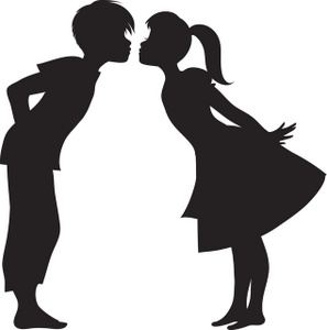First Kiss Clipart Image   Silhouette Of A First Kiss