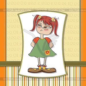 Funny Young Girl Amused And Distrustful   Vector Clipart