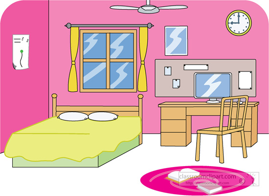 Girls Bedroom Clipart Interior Color Design Kitchen
