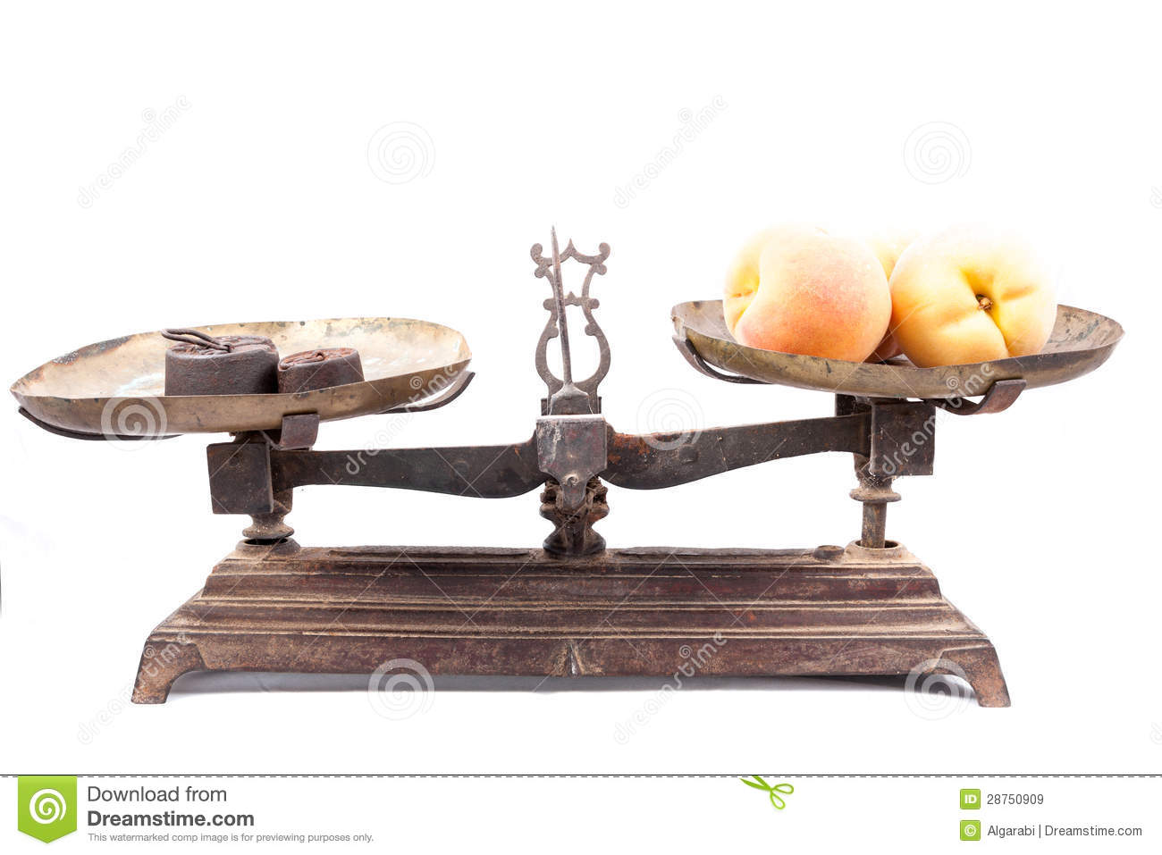 Old Weighing Scale And Fruits Isolated Royalty Free Stock Images