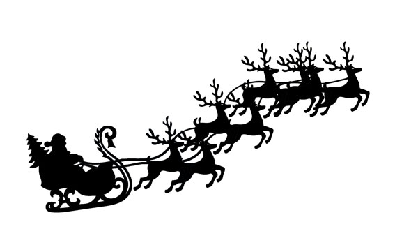 Santa Sleigh And Reindeer Flying With Sleigh Clip Art Leehansen Com