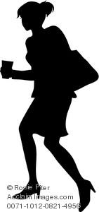 Silhouette Of A Businesswoman Juggling A Cup Of Coffee And Her Purse