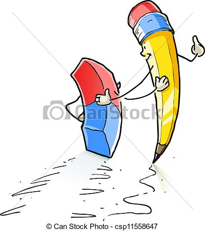 Walking Cartoon Lead Pencil And Eraser Vector Illustration Isolated On