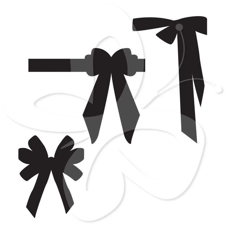 Wedding Dress And Bows Clip Art Set