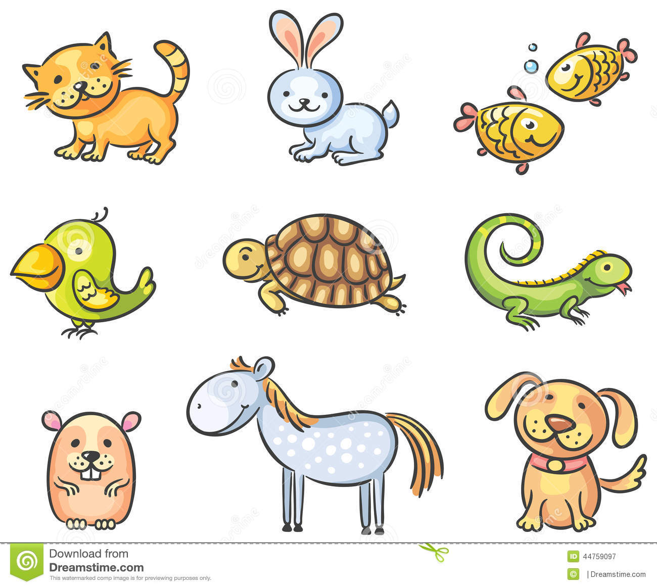 Pet Cartoon Cliparts on Worksheets About Pets