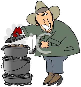 Chuck Wagon Cook Baking In Cast Iron Pots   Royalty Free Clip Art