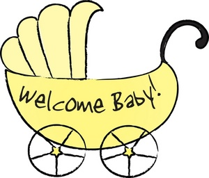 Clipart Image   Yellow Baby Carriage With Text Reading Welcome Baby