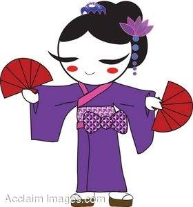 Clipart Picture Of A Geisha Dancing In A Purple Kimono