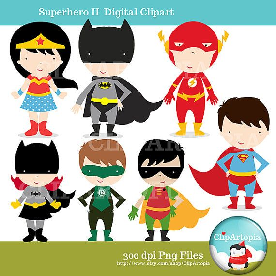 Cute Superhero Clipart The Justice League Wonder Woman Batman Superman