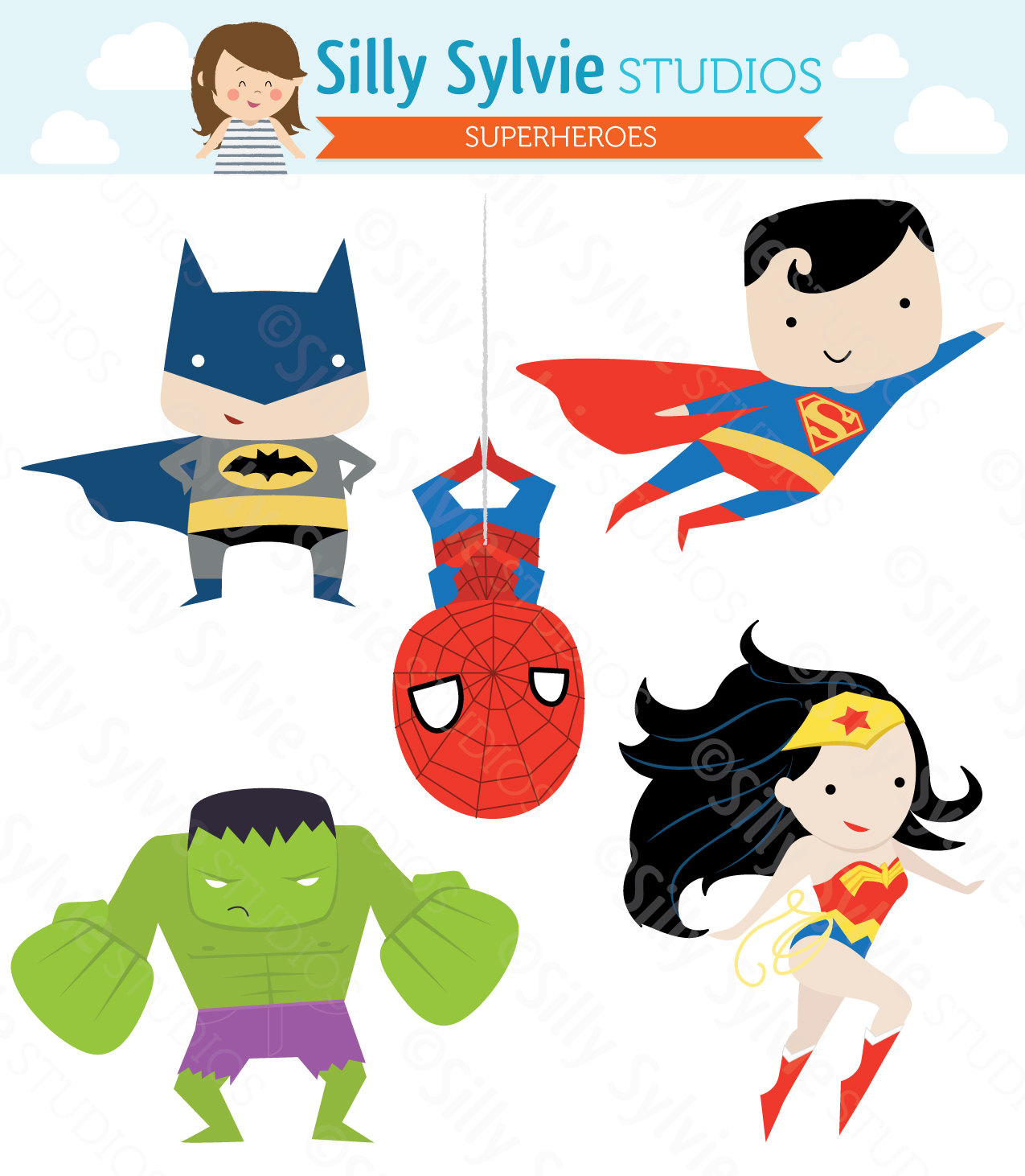 Justice League Female Heroes Clip Art