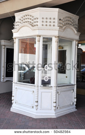 Empty Box Office Or Ticket Booth At Movie Theater  Stock Photo