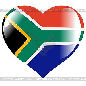 Heart With Flag Of South Africa   Vector Clipart