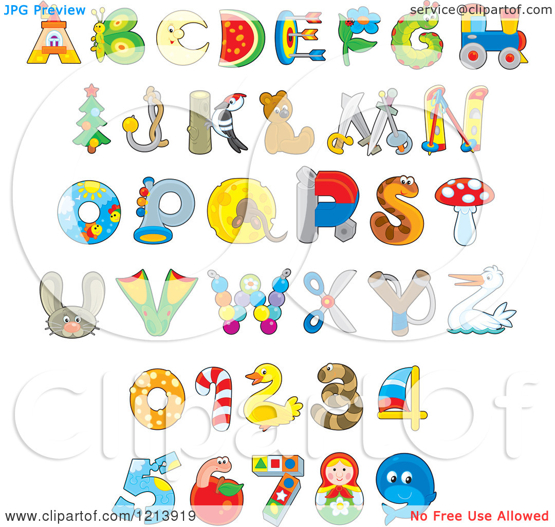 Letters Cartoon Of Animal And Object Alphabet Letters And Numbers