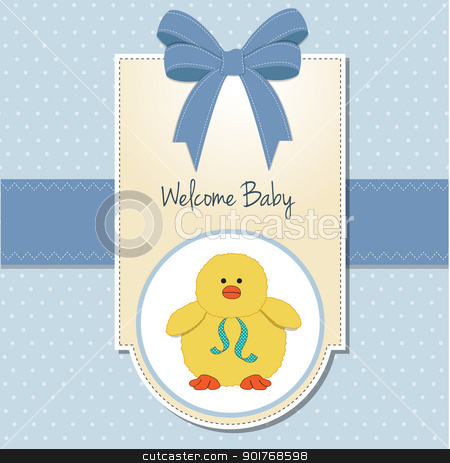 New Baby Boy Welcome Card Stock Vector Clipart New Baby Boy Welcome