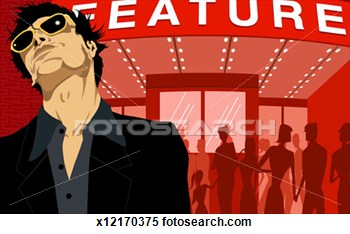 Stock Illustration Of Man Standing Outside Box Office Of Movie Theater