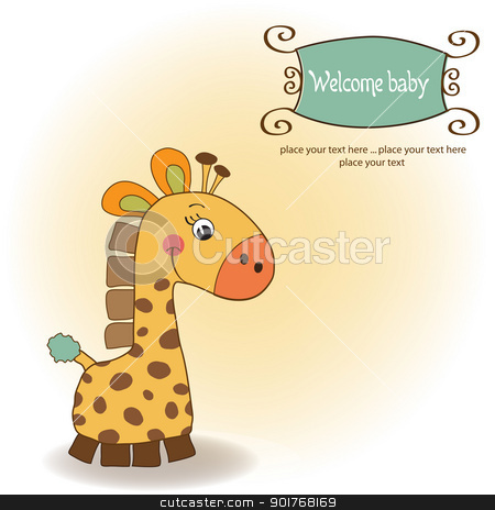 Welcome Baby Card With Giraffe Stock Vector Clipart Welcome Baby Card