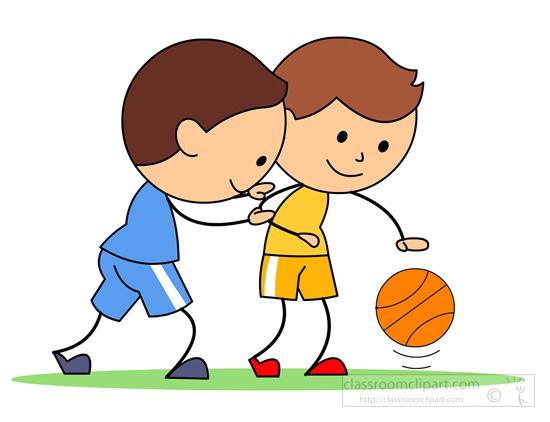 Basketball Clipart   Two Boys Playing Basketball   Classroom Clipart