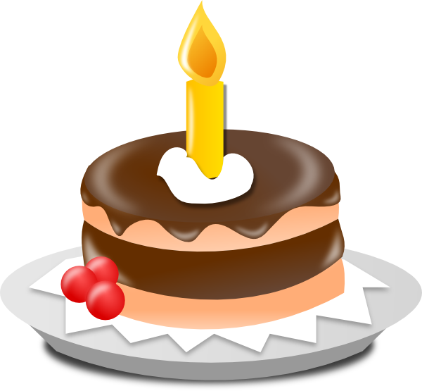 Birthday Cake And Candle Clip Art At Clker Com   Vector Clip Art