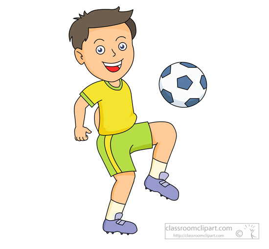 Clipart   Boy Bouncing Soccer Ball On His Knee   Classroom Clipart