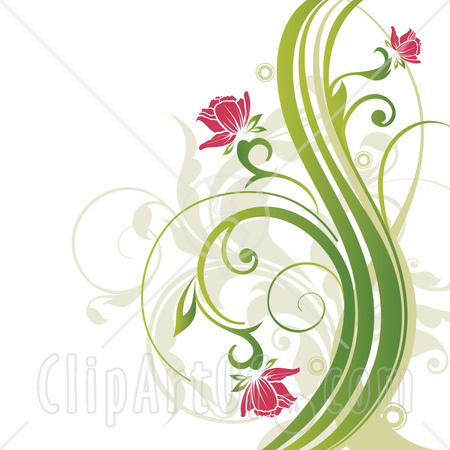 Clipart Picture Illustration Of Pink Flowers Blooming On Curly Green