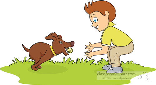 Dog Clipart   Boy Playing Ball With Dog   Classroom Clipart
