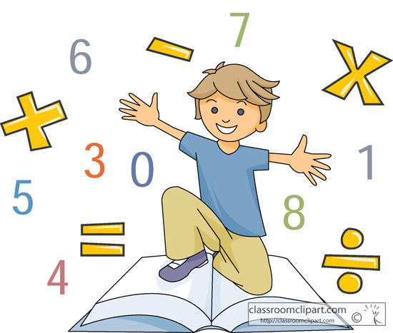 Mathematics   Boy With Math Symbols And Book   Classroom Clipart