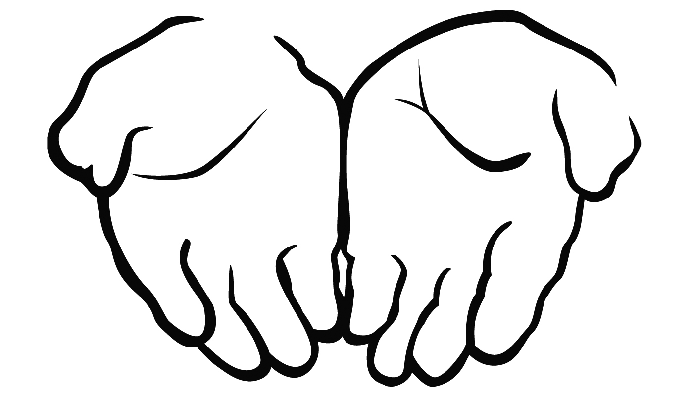 Open Hands Black And White Clipart - Clipart Suggest